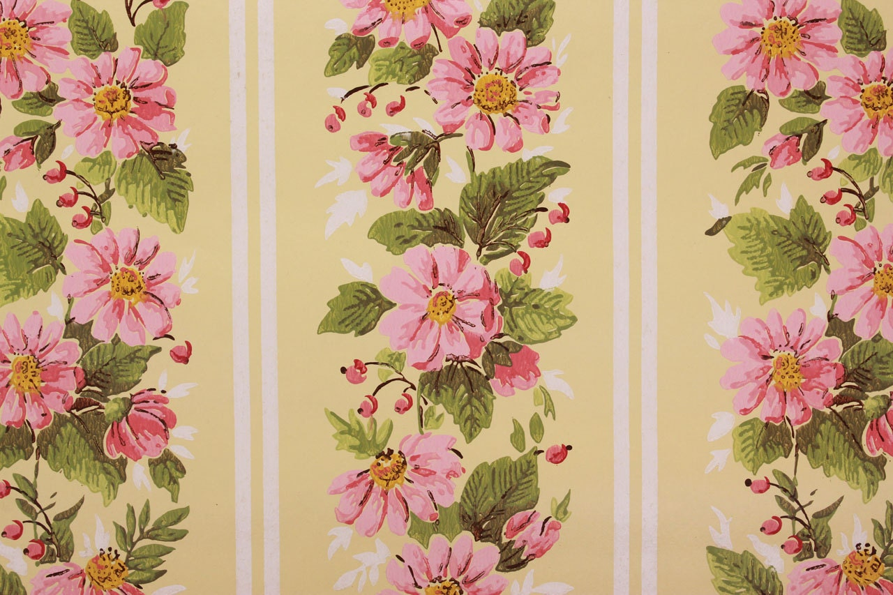 1970s Vintage Wallpaper Pink Daisy Floral Stripe On Yellow By Etsy