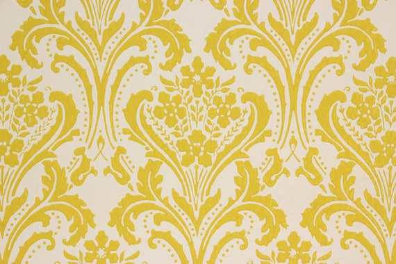 1960s Vintage Wallpaper Yellow Damask On White By The Yard