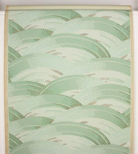 1920 ' s Antique Vintage Wallpaper vert d'eau vagues verge--Made des remous à la verge--Made vagues in Belgium 625ff0