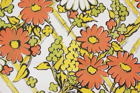 Retro Vintage Des Annees 1970 Papier Peint Vinyl Fleur Orange Etsy