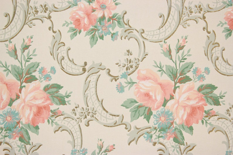1940s Vintage Wallpaper Pink Roses Aqua Flowers On White By Etsy