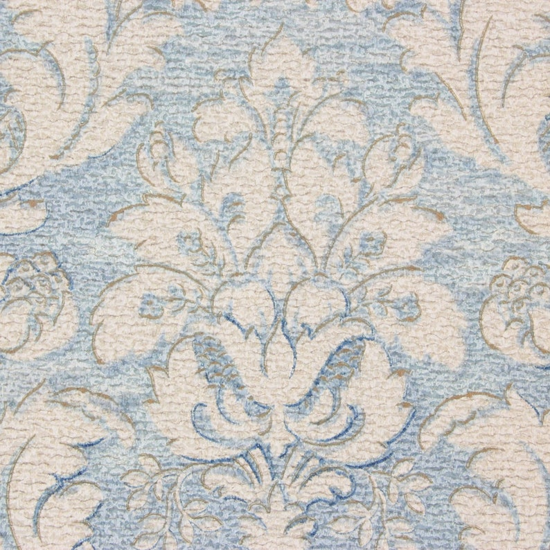 1920s Antique Vintage Wallpaper White Damask on Blue by ...