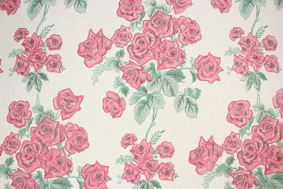 1940s Vintage Wallpaper Pink Rose Bouquets On White By The Yard Heavy Commercial Extra Wide