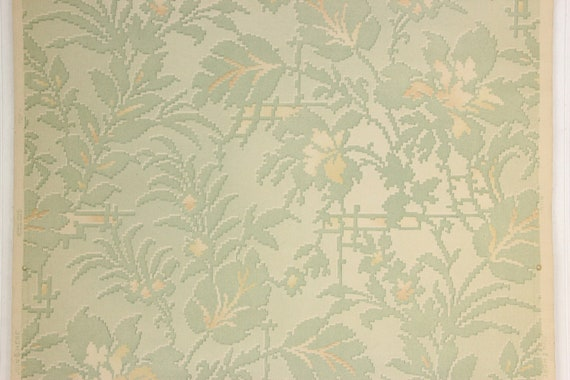1930s Antique Vintage Wallpaper Green Floral Art Deco By The Yard