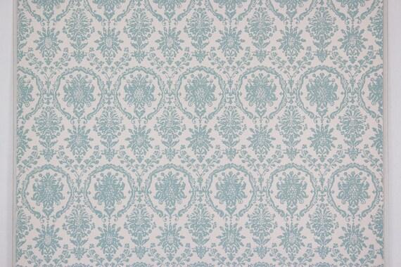 années 1960 papier vintage papier 1960 peint damassé bleu sur fond blanc à la verge f86ec7