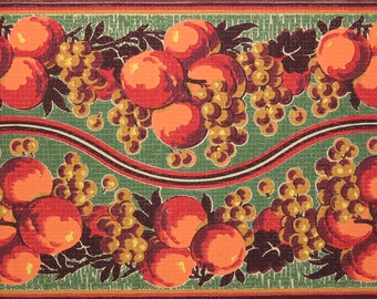 1920s Antique Border Vintage Wallpaper Peaches Grapes by the Yard