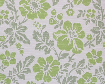 1960s Vintage Wallpaper Bright Green Flowers on White by the Yard--Made in West Germany