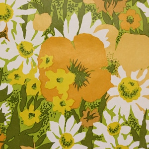 1970s Vintage Wallpaper Vinyl Orange Poppies White Daisies By The Yard