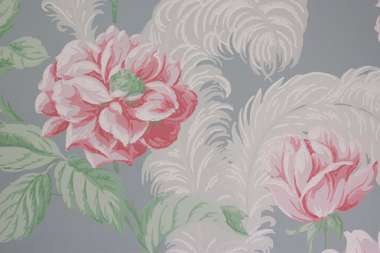 1940s Vintage Wallpaper Large Pink Flowers White Feathers On Etsy