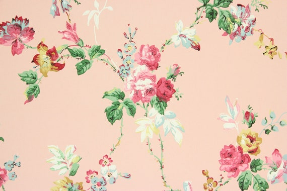 1940s Vintage Wallpaper Pink Roses Yellow And Blue Flowers On By The Yard