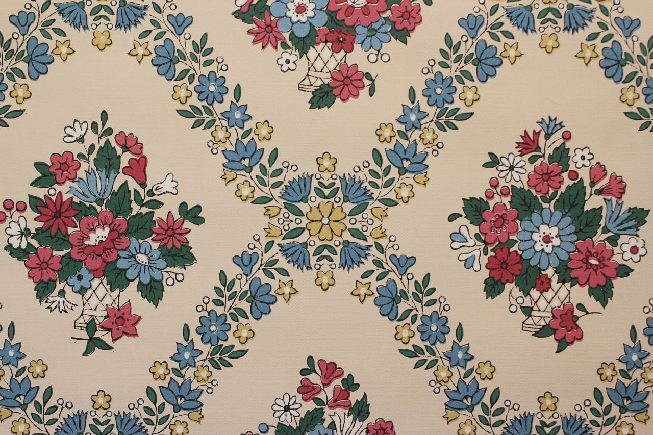 1940s Vintage Wallpaper Pink And Blue Floral Baskets By The Etsy