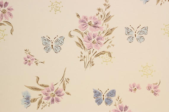 1960s Vintage Wallpaper Purple Flowers Pink Butterflies On Pink By The Yard