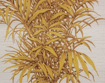 1970s Vintage Wallpaper Vinyl Yellow Fern Leaves on White by the Yard