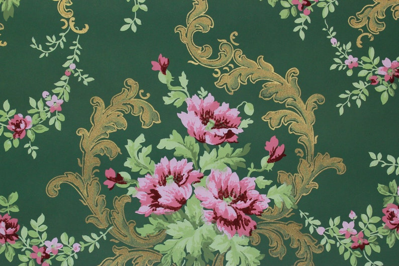 1900s Vintage Antique Wallpaper Pink Rose Bouquets With Gold Etsy