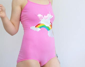 Pink rainbow unicorn bodysuit playsuit all in one e0b7ca5c39a
