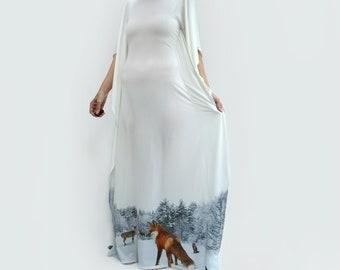 Kaftan Dress with Fox in Winter Fantasy Landscape Maxi Dress