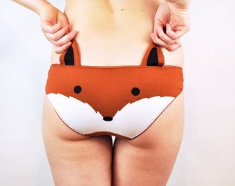 Panties lingerie with a fox face and ears underwear
