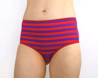 Panties with Red and Purple Stripes High Rise Lingerie Underwear