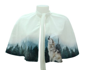 White Velvet Cape with Wolf and Forest Capelet