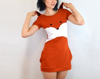 Fox Dress with Ears Cotton Jersey Mini Dress with Pockets