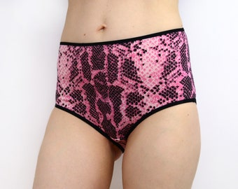 Panties with Pink Snake Skin Print High Rise Lingerie