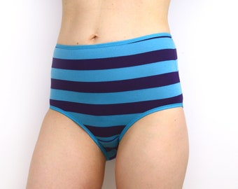 Stripy High Rise Panties in Blue and Purple Lingerie Underwear
