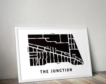 The Junction - Toronto Neighbourhood Map Art Print
