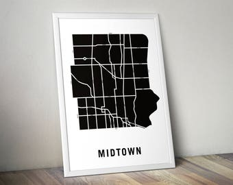 Midtown - Toronto Neighbourhood Map Art Print
