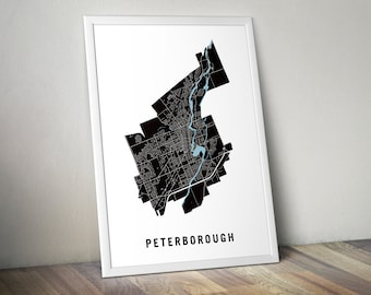 Peterborough - Toronto Neighbourhood Map Art Print