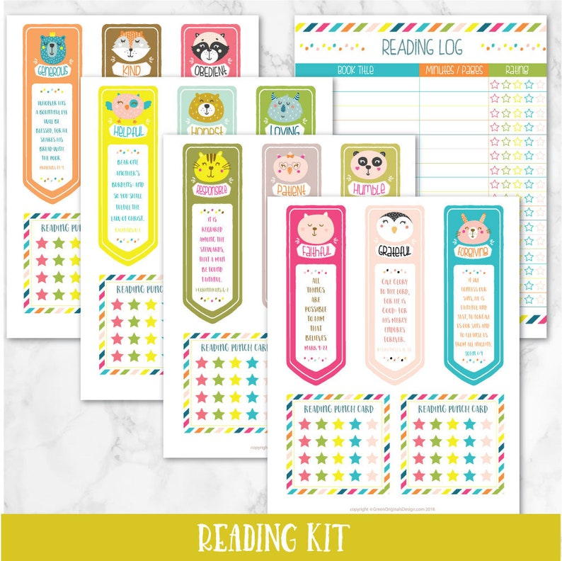 picture relating to Books of the Bible Printable Cards identified as Reading through Package- Printable Bookmarks, Studying Log and Punch Playing cards - for Personality Exercising and Virtues, Homeschool, Bible Verses