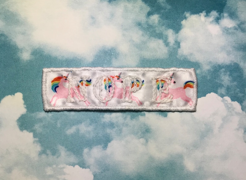 White on white ribbon with rainbow unicorns NOPE patch embroidered patch Handmade Sew on patch.
