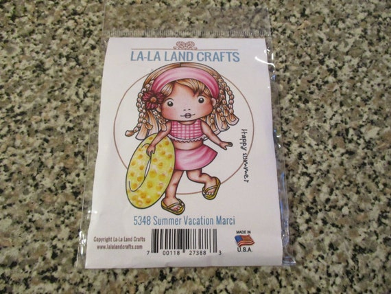 New La La Land Crafts SUMMER VACATION MARCI Cling Rubber Stamp Girl Pool Beach