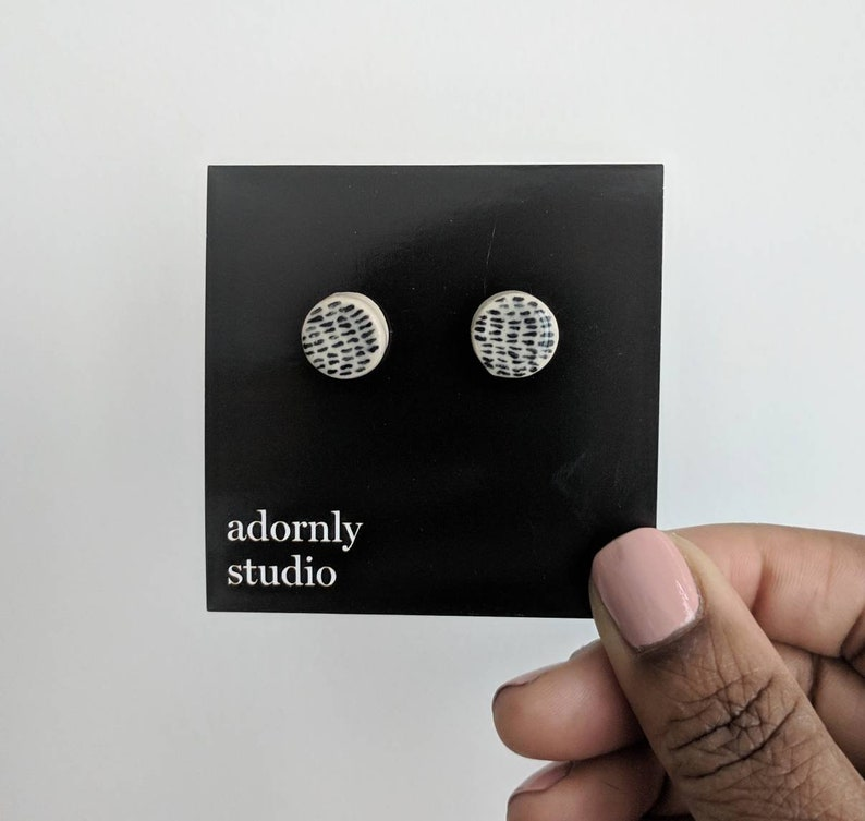 Every day black and white patterned ceramic porcelain stud earrings