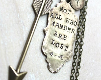 Brass Handstamped Ornate Tag and Arrow. Not All Who Wander Are Lost. Personalized with initial