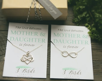 Mother's Day. Infinity and Heart Necklace Mother Daughter SET. Sterling Silver. The love between Mother and Daughter is forever