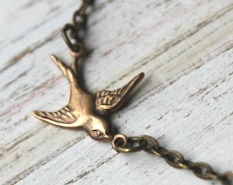 Brass Bird Sparrow Necklace