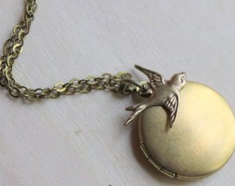 Brass Bird Sparrow Locket