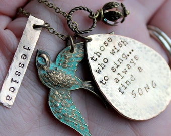 Brass Bird Handstamped Charm Necklace. Name. Song Quote those who wish to sing always find a song