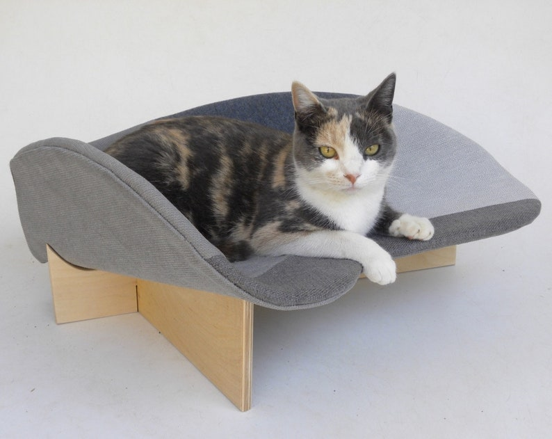 Midcentury Modern Pet Bed Boomerang In Grey Geometric Mix With Etsy