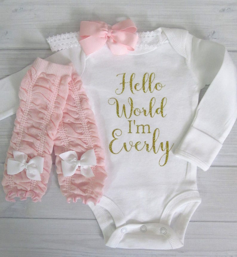 Baby Girl Coming Home Outfit Hello World Gold Glitter Personalized Baby Shower Gift Baby Bodysuit Optional Leg Warmers and Bow Headband