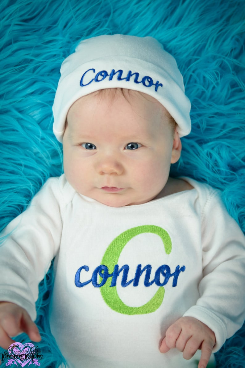 Baby Boy Coming Home Outfit Clothes Bodysuit Hat Leg Warmers Leggings Personalized Embroidered Infant Clothing Monogrammed Baby Shower Gift