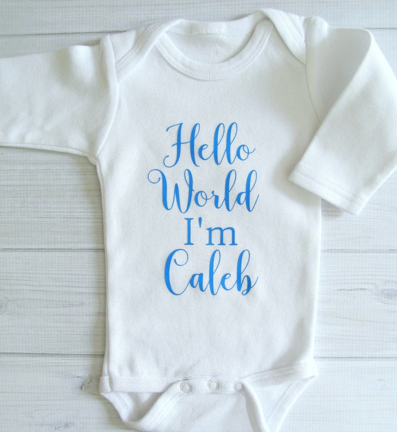 Newborn Baby Boy Coming Home Outfit Hello World Bodysuit with Optional Hat Gift Baby Shower Gift
