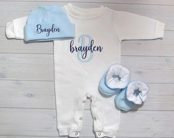 Baby Boy Coming Home Outfit Sleeper Romper Optional Hat Booties Newborn Personalized Embroidered Baby Clothing Monogram Baby Shower Gift