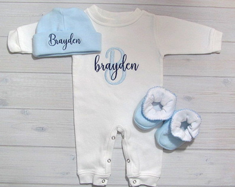 Baby Boy Coming Home Outfit Sleeper Romper Optional Hat image 0