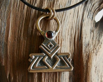 Bronze and Garnet Dwarven Thor's Hammer Pendant