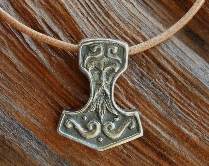 Silver Thor's Hammer Pendant with Face