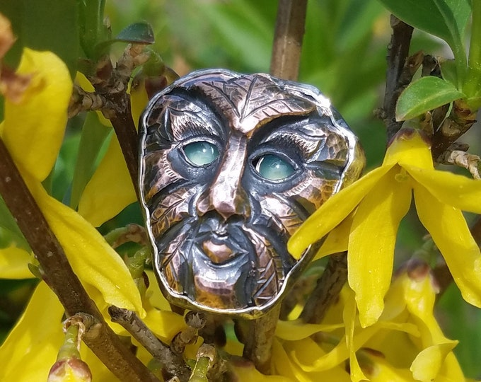 Copper and Silver Green Man Ring with Chrysoprase Eyes