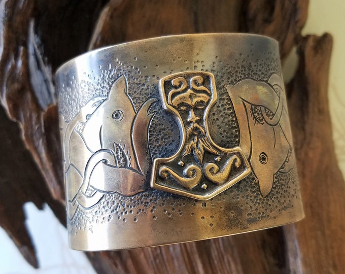 Bronze Thor's Hammer Cuff with Chased Details