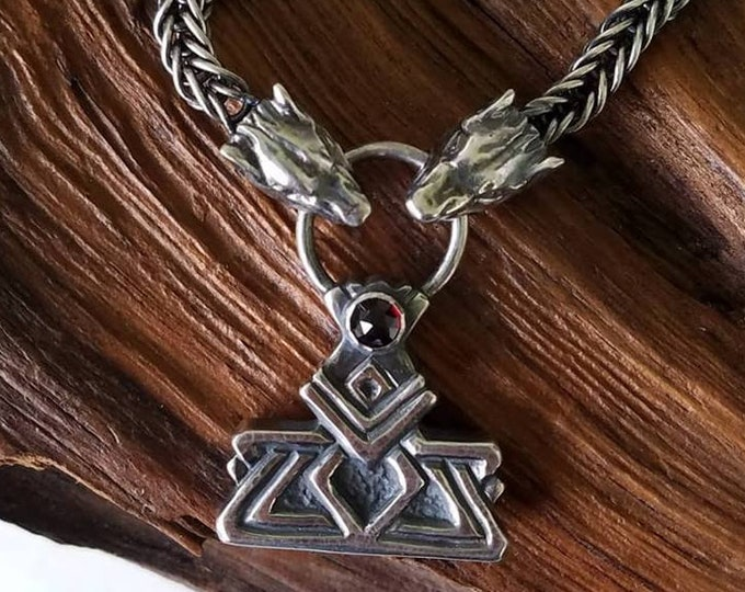Silver and Garnet Dwarven Thor's Hammer Necklace with Woven Chain