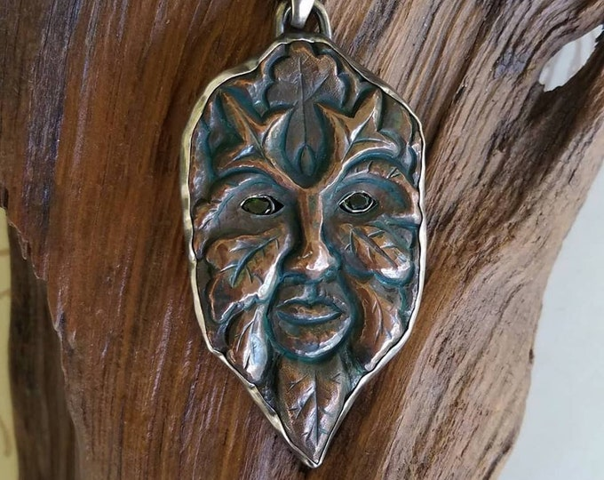 Copper and Silver Green Man Pendant with Chrome Diopside Eyes